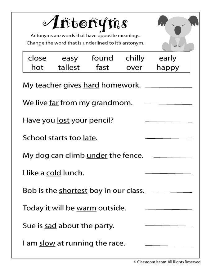 Reading Worksheets: Antonyms and Synonyms antonym-worksheet – Classroom Jr. 2nd grade