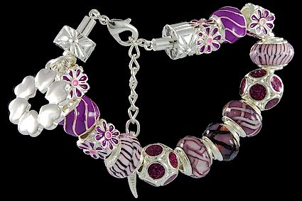 silver plated items: bracelet with lobster, enamel beads, glittering beads, six-hearts charm, locks. Five glass beads with 925 silver core.