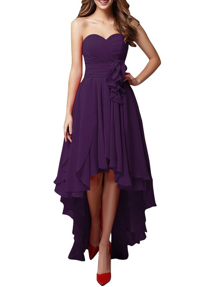 JY FASHION Women's Bandeau Hi-lo Party Swing Bridesmaid Dress Evening Grown Black US 2
