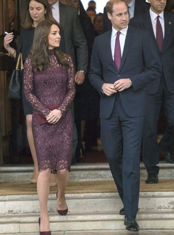 Catherine opts for winter lace. #KateMiddleton #DuchessofCambridge #purpledress #lace