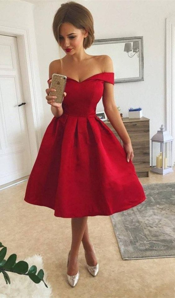 a8be7dddd3 Elegant Red Off-the-Shoulder Homecoming Dress
