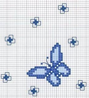 Schemi Puntocroce: Schema a Punto Croce  - Farfalla con Fiorellini