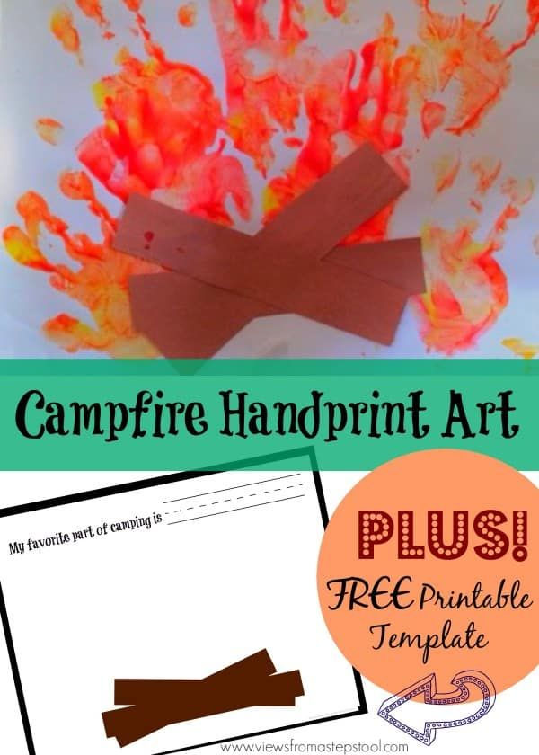 campfire handprint art with free printable template two year old