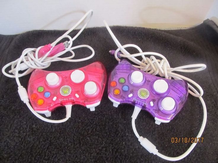 TWO ROCK CANDY XBOX 360 REMOTE CONTROLS - PINK AND PURPLE - FOR REPAIR OR PARTS #ROCKCANDY