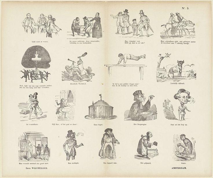 Erve Wijsmuller | Verschillende voorstellingen, Erve Wijsmuller, Anonymous, c. 1828 - c. 1913 | Blad met 18 voorstellingen van verschillende aard, waaronder de vlucht van Hugo de Groot in de boekenkist, een man die gefouilleerd wordt en een groep mensen dansen rond een olielamp. Onder elke afbeelding een onderschrift. Onder de eerste afbeelding het onderschrift: Geld moet er wezen. Genummerd rechtsboven: No. 5.