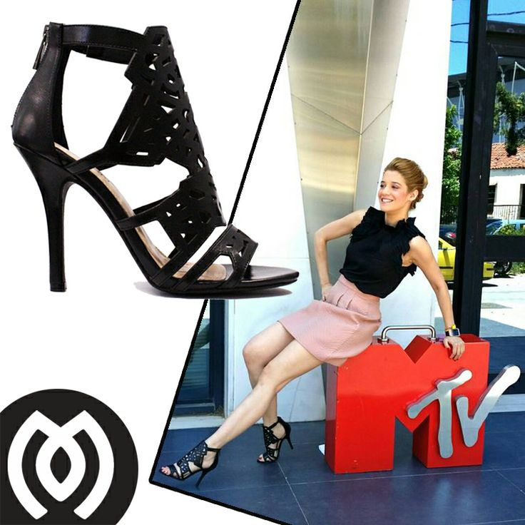 Jenny Theona on MYV Greece wearing MIGATO SS2014 collection laser-cut sandals, product code GZ5024.