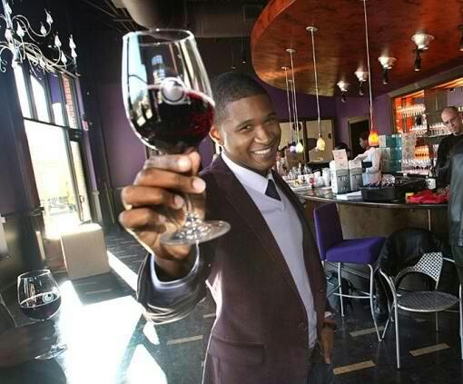 Oh look; three of my favorite things ...  Usher, ties and wine.