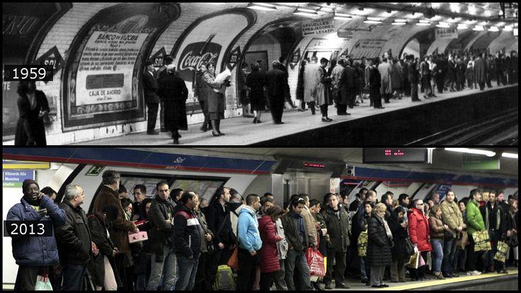 Más de medio siglo separan a estas dos imágenes del metro de Sol.