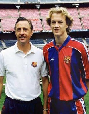 Jordi Cruyff and father Johan, Barcelona 1994. Besides his magnificence as a player, Johan endeared himself to Catalans by learning the language and naming his son Jordi. Jordi played with Barca: 1994-1996.
