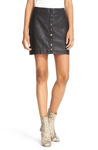 Free People 'Oh Snap' Faux Leather Miniskirt