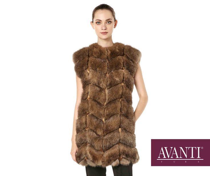 AVANTI FURS - MODEL: BALBINA 5 SABLE VEST with textile details #avantifurs #fur #fashion #fox #luxury #musthave #мех #шуба #стиль #норка #зима #красота #мода #topfurexperts