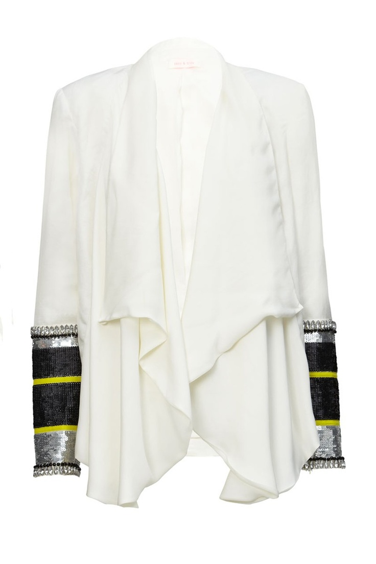 SASS & BIDE THE BEATjacket $750.00 sku F2SF12014ivo linen jacket with silk paneled cowl neck & bands of hand-embellished beading & sequins around cuffs. cowl neck can be worn loose or wrapped around the neck. composition: main: 52% linen, 48% rayon contrast: 100% silk care: hand wash / dryclean