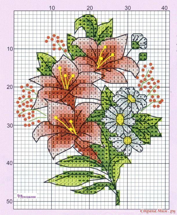 Схема вышивка открытка цветы, днем города