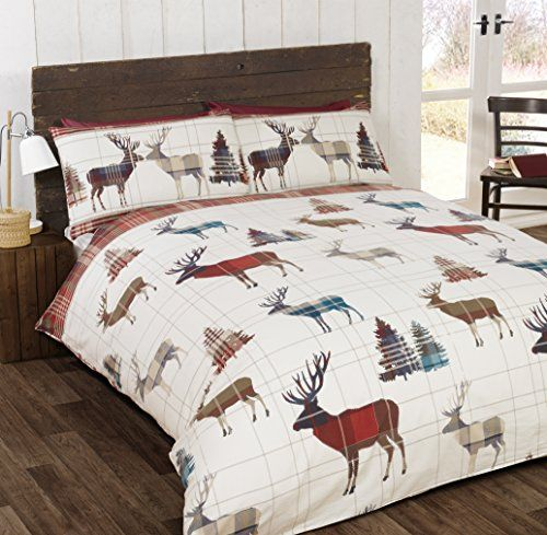 From 20.49 So Soft Flannelette Stag King Size Duvet Cover And 2 Pillowcases Bedding Bed Set Brushed Cotton Quilt Cover Red Red