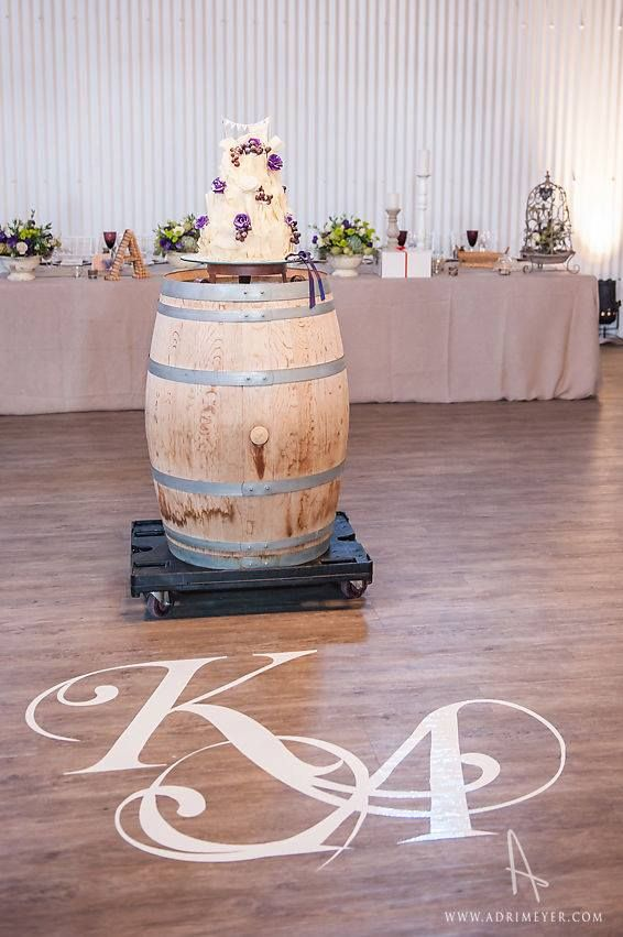 Vinyl sticker. Wedding cake on wine barrel