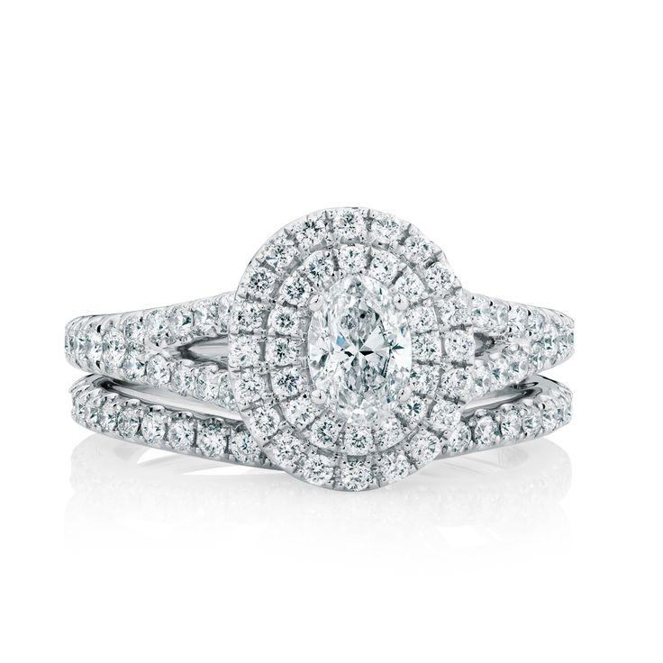 The Michael Hill Designer Bridal Collection | Oval cut center diamond Arpeggio bridal set.