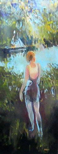 "Daniel Dubois, The Swimmer,  oil on canvas, 24""x60"". $1300"