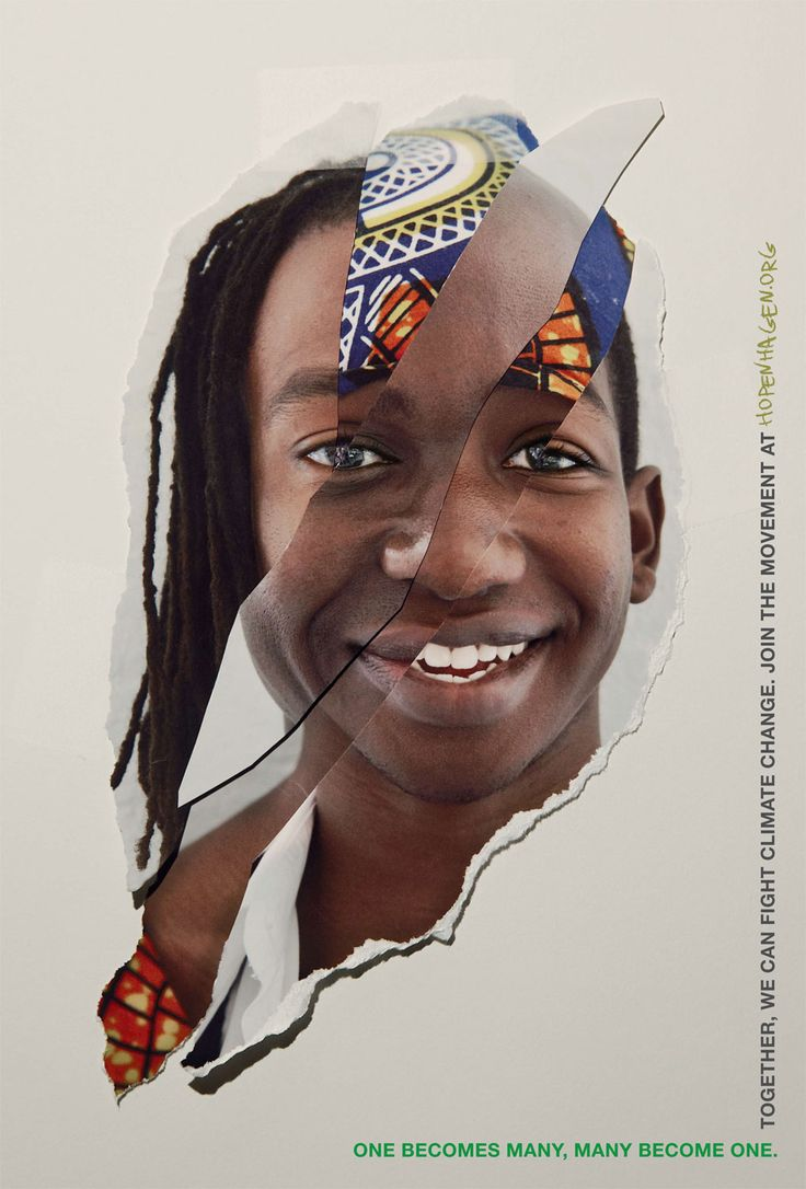 "2009 | UN Copenhagen Climate Change conference, has released an advertising campaign featuring spliced portraits collated by photographer John Clang. Print advertisements and a stop motion short film convey the message: ""6.8 billion people. One Voice."""