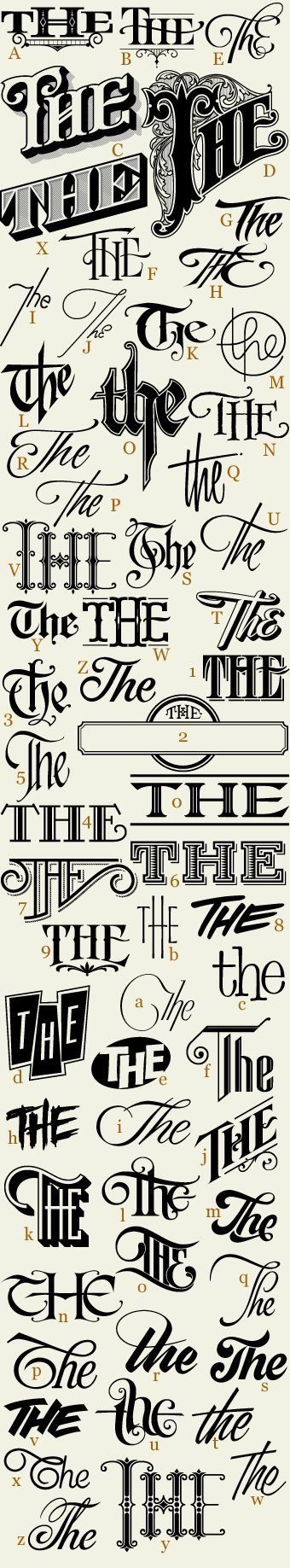 """The many ways to write the word """"the""""."""