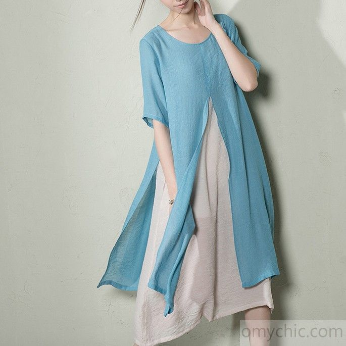 Light blue layered summer dress long cotton maxi dresses plus sizeThis dress is made of cotton linen fabric, soft and breathy, suitable for summer, so loose dresses to make you comfortable all the time.Measurement:  Size M length 114cm / 44.46