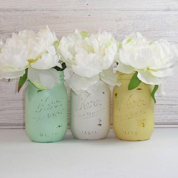 3 Hand Painted Mason Jars Flower VasesThe Janet