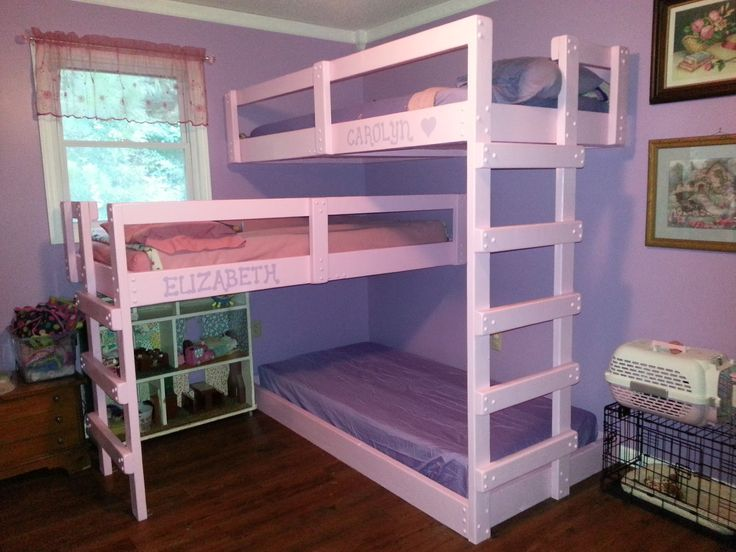 White Wooden Three Level Bunk Beds For Small Rooms And