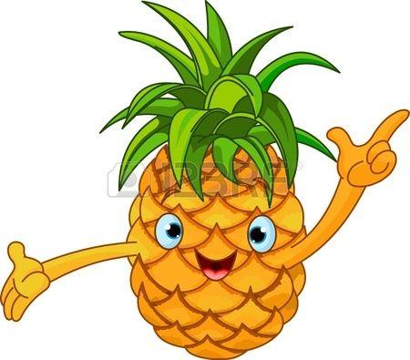 Illustration of Cheerful Cartoon Pineapple character Stock Vector