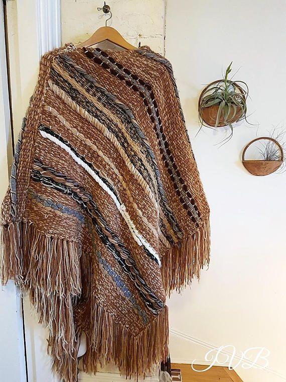Wool poncho vintage handwoven poncho boho poncho