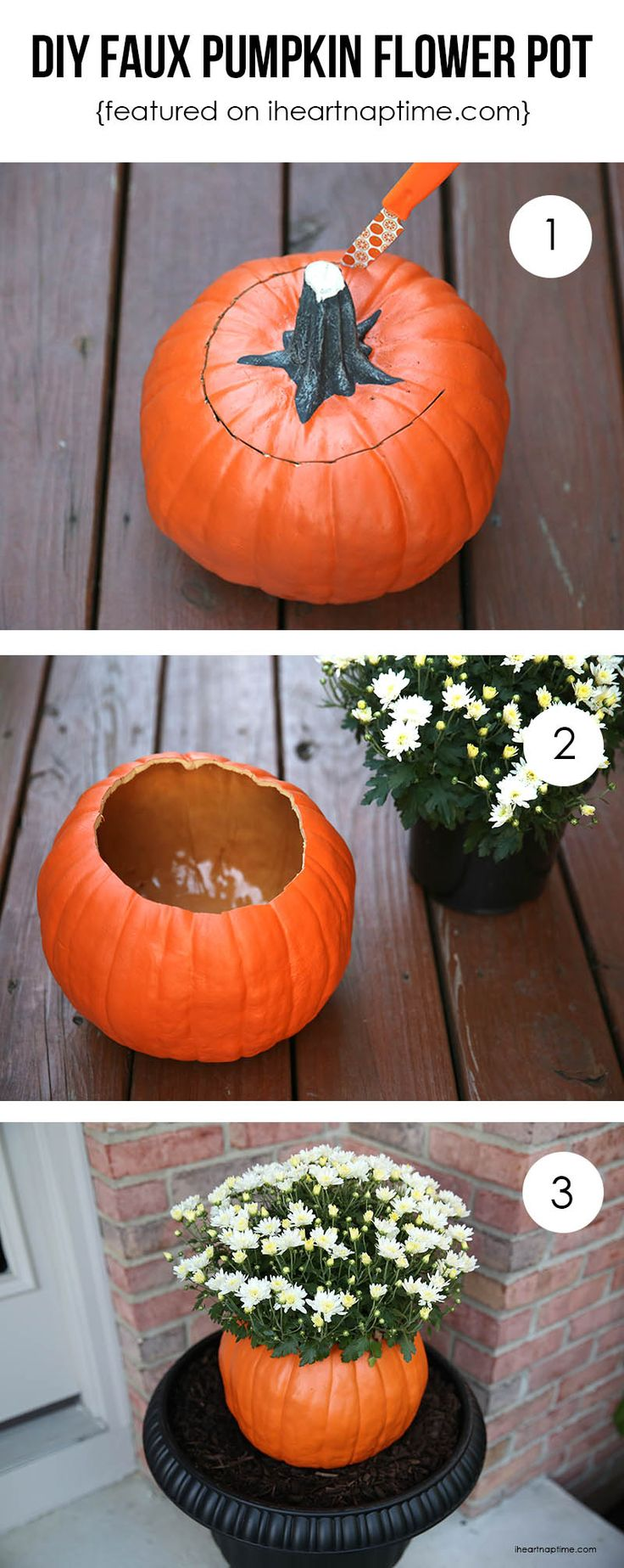 DIY faux pumpkin flower pot tutorial. Makes so much more sense (and will last way longer!) than a real pumpkin.: