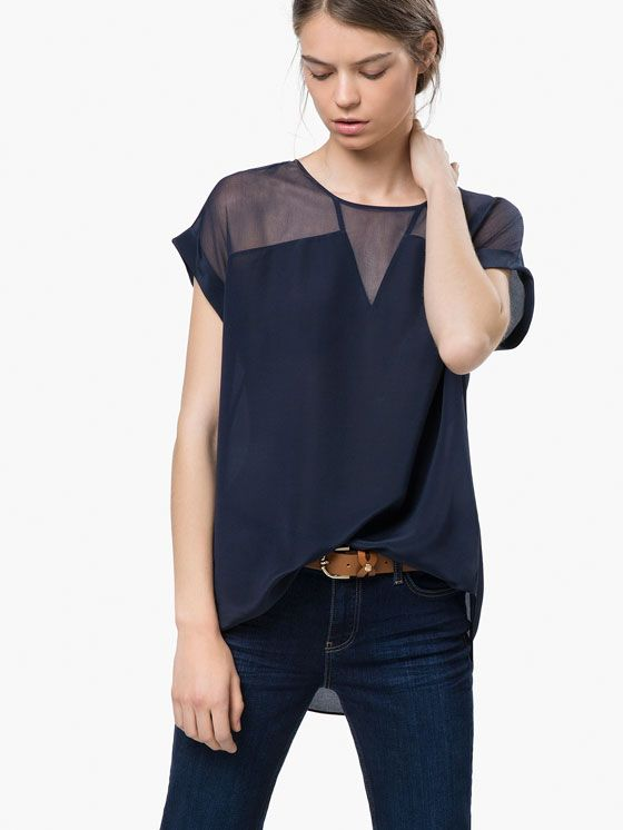 SHIRT WITH SHEER DETAILS Massimo Dutti