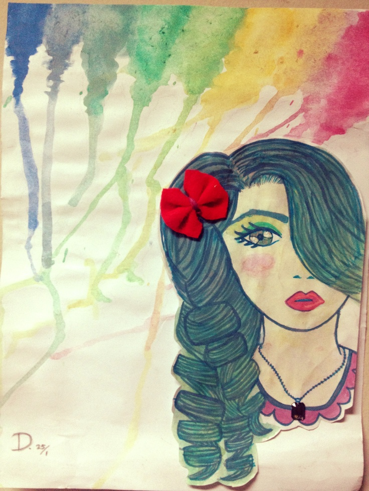 actually this idea comes from the melted crayon artwork. but i think water color would be epic and simple as that.   - Dara Marisa.