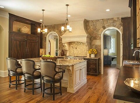 Kitchen with stack stone accent wall