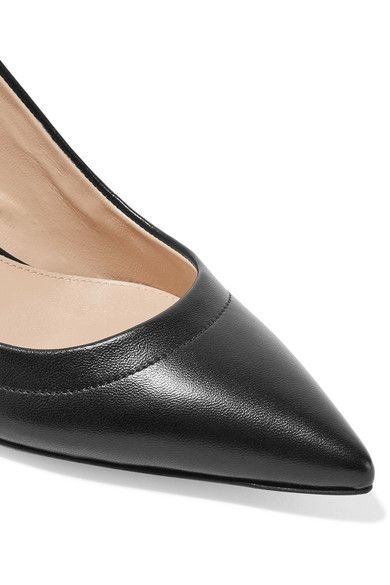 Gianvito Rossi - Bow-embellished Leather Slingback Pumps - Black - IT41.5