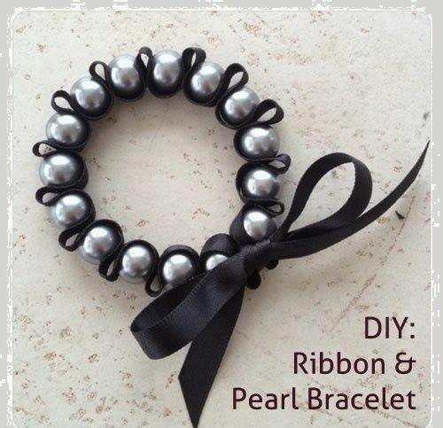 Bisuteria PASO A PASO. Cómo hacer una pulsera con cinta y perlas // DIY ribbon and pearls bracelet