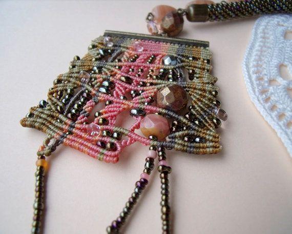 Unique micro macrame necklace pendant Bronze by MartaJewelry