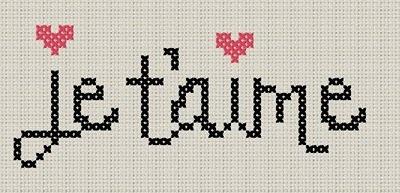 Je t'aime cross stitch chart