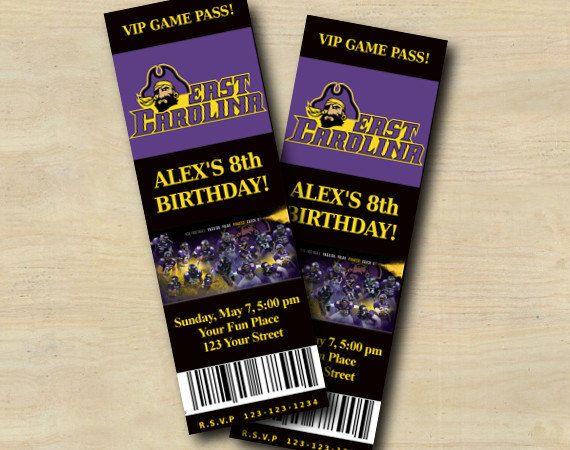 Ecu Pirates Football Ticket Invitation by CustomPartyInvites, $8.99
