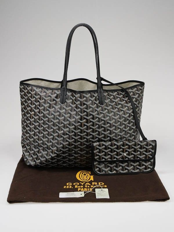 Goyard Black Coated Canvas St. Louis (the big one) Tote Bag with Gold and Silver Monogramming in HWM