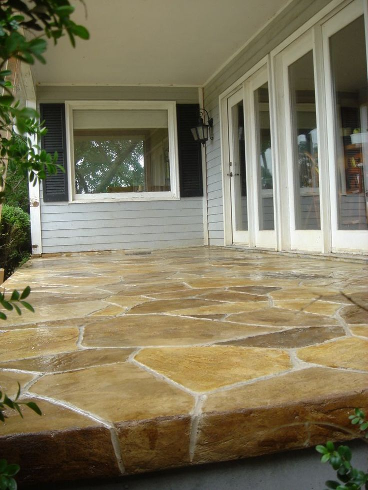 Stamped and hand stained concrete porch in goode va for Best way to clean concrete porch
