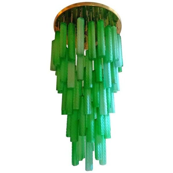 Large 1960s Italian Cascading Glass Chandelier ❤ liked on Polyvore featuring home, lighting, ceiling lights, tube lights, green lights, glass shades, glass shade and green glass shades