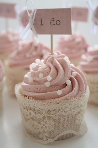 Cupcakes and sweet treats can be personalised with miniature signs or labels added, simply using decorated card and cocktail sticks. They really can enhance even the most simple of cupcakes and add the cute factor!Wish I had done the lace trim on our wedding cupcakes-Super elegant!