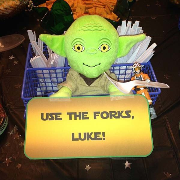 Luke Forks! Great idea. My son will love this. Star Wars party - cute for utensils