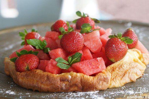 Доброе утро! У нас на завтрак запеченный блин с фруктами. А у вас? #edimdoma #recipe #cookery #breakfast