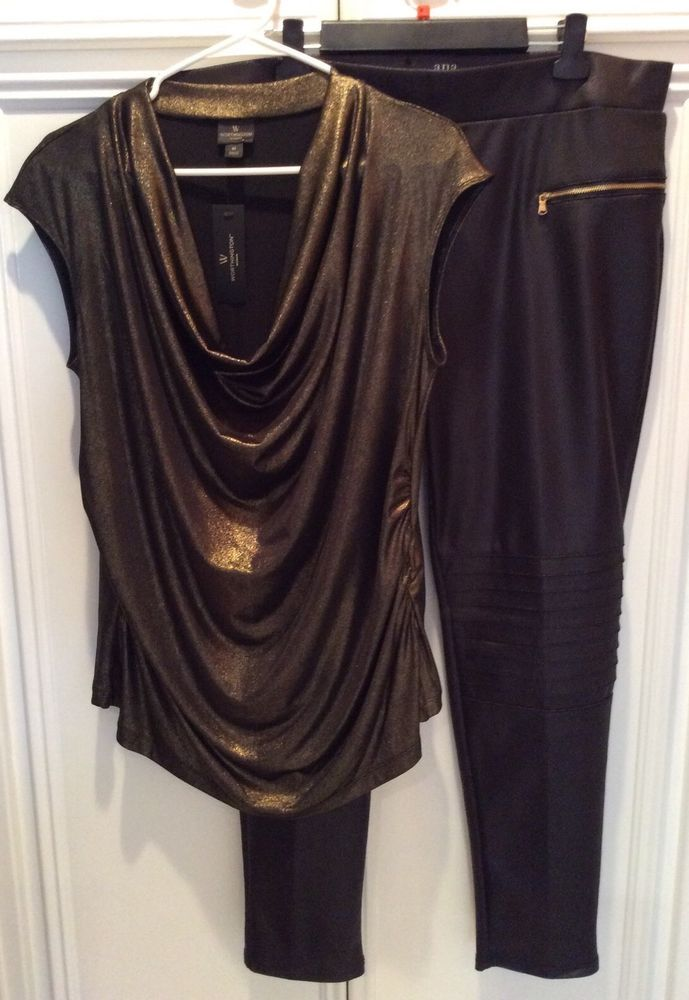 NEW Women's 1X 2 Piece Black Pleather Pants Gold Metallic Blouse SEXY AS HELL! #anaWorthingtonWoman