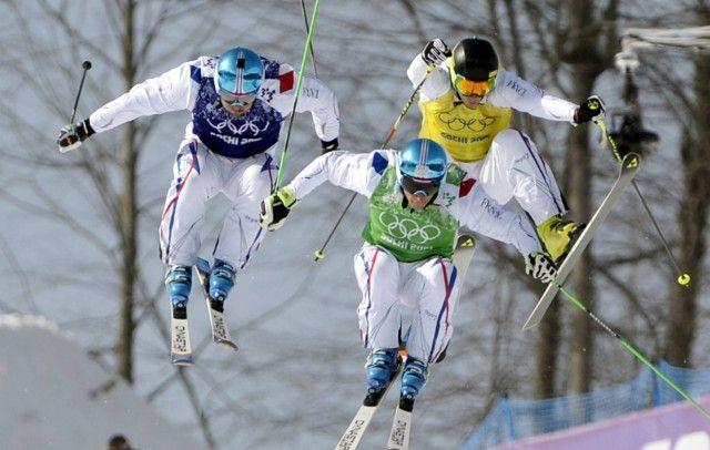 Sotshin talviolympialaiset ... Sochi 2014 Winter Olympics Sotsi Sotshi Sochi / Venäjä - 20.02.2014 Ardaud Bovolenta of France (BLUE), JF Chapuis of France (GREEN) and Jonathan Midol of France (YELLOW) at Men's Ski Cross Final during the Sochi 2014 Winter Olympics in Sochi, Russia on 20th Feb., 2014.   Copyright: Lehtikuva Lähde: Lehtikuva Kuvaaja: Jussi Nukari