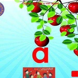 Digibordles-a-klank De a van appel richt zich op de a als begin- en middenklank. Daarnaast wordt er gevraagd welk plaatje niet begint met de a van appel.