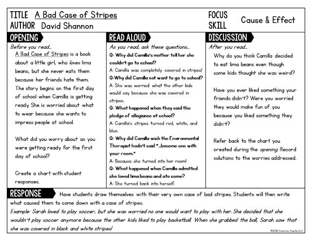 "Download a FREE sample interactive read aloud lesson for ""A Bad Case of Stripes"" by David Shannon."