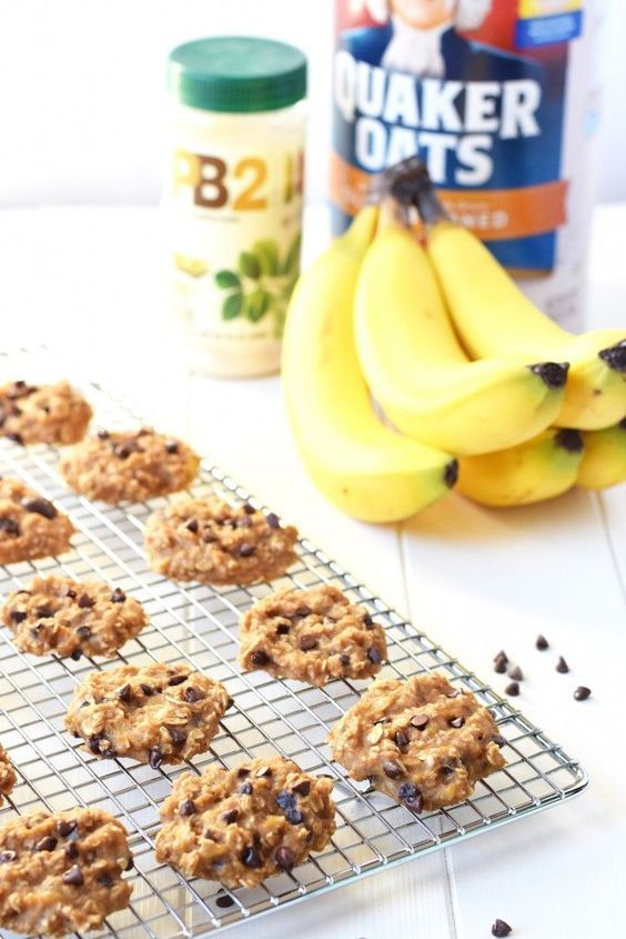 3 Ingredient Peanut Butter Banana Cookies - Made with only bananas oats PB2 (and your choice of mix-ins) these cookies are less than 50 calories each and healthy enough to be breakfast!