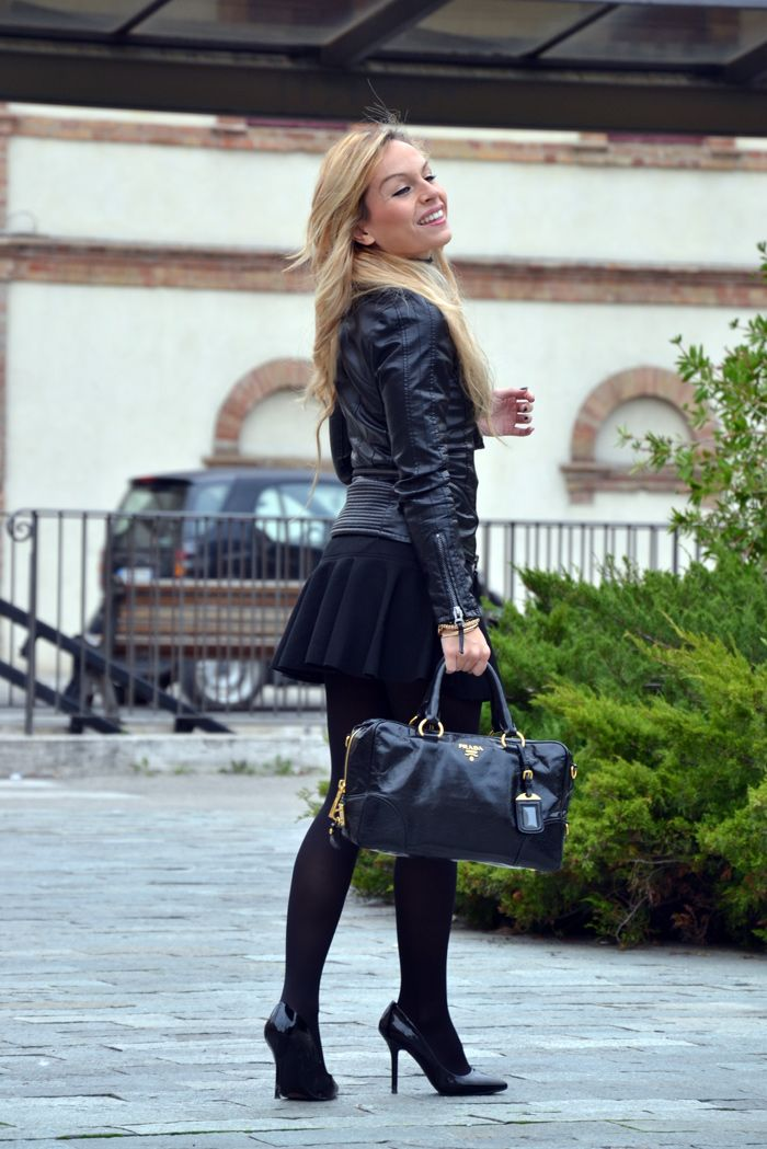 Leather jacket, skirt with trumpet hem, Zara pumps, Prada bag - outfit fall winter 2013 italian fashion blogger It-Girl by Eleonora Petrella...