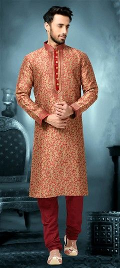 505664 Beige and Brown  color family Kurta Pyjamas in Silk fabric with Lace work .